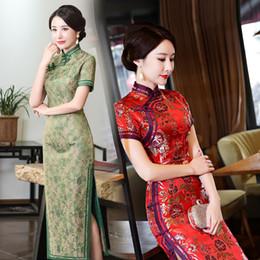 df8e0137edb7 Abito lungo a manica corta donna Qipao Abito cinese in seta stile cinese  elegante cheongsam 2018 Hot JLM2026