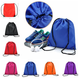 Wholesale Travel Shoe Storage Pouches - waterproof Drawstring Backpack Oxford Travel Shoes Storage Pouch Beach Storage Bag Organizer Backpack 6 color KKA4315