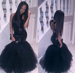 Wholesale Maternity Dresses For Special Occasions - Simple Black Long Prom Dresses Mermaid Evening Gowns Halter Sequins Bodice Tulle Floor Length Special Occasion Party Prom Dress For Women