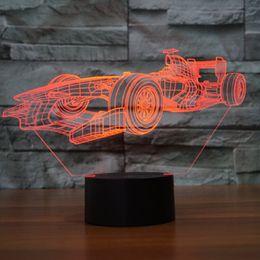 Luce acrilica 3D LED Lamp F1 racing car Forma luminaria Lampe USB tavolo scrivania 3D Led Night Light Friends regalo di festa Dropshipping all'ingrosso da