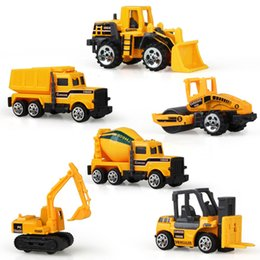 Wholesale Classic Car Years - Kid Mini Model Cars 6pcs set Alloy Diecast Construction Vehicle Engineering Car Dump-car Dump Truck Model Classic Toy Mini Gift for Boy