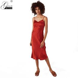 2019 vestido sexy min Mãos de ouro Fresco Verão Mulheres Spaghetti Strap Min-calf A linha de Vestido Sexy Sem Mangas Império Vestido de Praia Sólida Frete Grátis desconto vestido sexy min