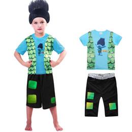 Wholesale child pyjamas - Trolls Boys Pajamas Sets Boys Summer Pyjamas Kids Summer Cotton Sleepwear for 4-10 Years Children B11