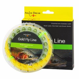2019 fly ft Linea da Fly Gold Floating Dream Weight Forward Gold con due anelli saldati Linea da pesca a mosca 100 FT Freshwater con rocchetto sconti fly ft