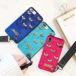 Wholesale Cell Phone Cases Rhinestones - Luxury Bee Case For iPhone X 7 6 6S 8 Plus diamond rhinestone cell phone case plush tpu back cover