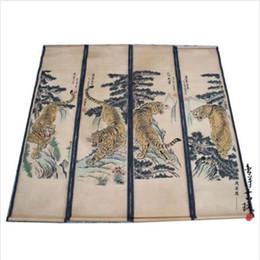 letras contas quadradas Desconto 4PCS mão chinesa antiga pintura de papel pergaminho SET Tiger Pine paisagem
