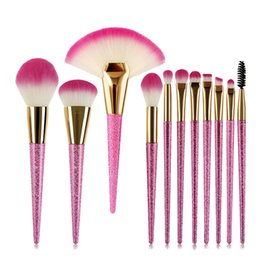 Augenbrauen make-up glitter online-11 Stücke Sakura Blume Rosa make-up Pinsel Set professionelle Glitter Griff Fan make-up pinsel Powder Foundation Blush Augenbraue Wimpern Pinsel