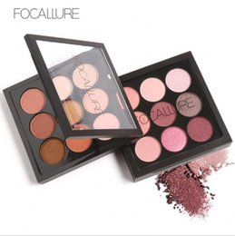 Wholesale earth eyeshadow palette - FOCALLURE 9 Colors Earth Tone Shimmer Matte Pigment Glitter Eyeshadow Palette Artist Shadow Palette Makeup Metallic Eye Shadow