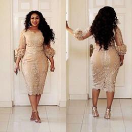 Кружева с шампанским Короткие платья для матерей невесты плюс размер 2019 Длина чая 3/4 оболочка с длинными рукавами Платья для матери жениха M02 от