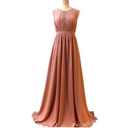 2019 Ghands economici Dusty Rose JJShouse Chiffon gioiello A-Line pavimento-lunghezza eleganti abiti convenzionali più abiti da damigella d'onore formato personalizzato / colore da