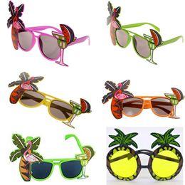 2019 robes de hula Flamingo Party lunettes de soleil ananas Hawaïen Tropical COCKTAIL Hula Beach Bière Lunettes de soleil Lunettes Night Stage Fancy Dress Lunettes WX9-825 robes de hula pas cher