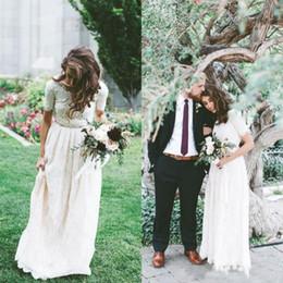 Wholesale Drop Waist Gold Wedding Dress - New Boho Full Lace Wedding Dress Modest Country Style with Short Sleeves Floor Length Crystals Waist Beach Bohemian Bridal Gowns Custom Made