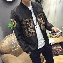 Wholesale chinese white coat - 2018 New Fashion Chinese Long Pao Jackets Embroidery Spring Autumn Men Bomber Jacket Men Slim Fit Men Casual Coats Windbreaker M-5XL