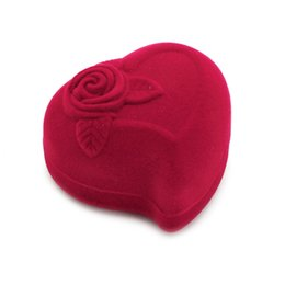 Wholesale Modern Jewelry Rings - Double Ring Box Jewelry Velvet Rose Flower Heart Shape Gift Storage Case