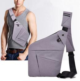 pequeñas bolsas de hombre delgado Rebajas Bolsos de mensajero de los hombres de moda a prueba de agua Crossbody Shoulder Bag para Male Small Multifuncional ultrafino hombres / mujeres Business Chest Bags