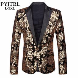 PYJTRL Nouveaux Hommes Plus La Taille 5XL Blazer Design Velours D or Paillettes  Costumes Veste Étape Chanteur Marié De Mariage Costume Fournisseurs Chine 4f4626ff717
