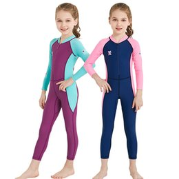 Wholesale Wetsuit Swimsuit - Summer Children Swimsuits Outdoor Long Sleeve One-Pieces Wetsuit For Kids Sun-protective Quick Drying Swimwears Free DHL A741
