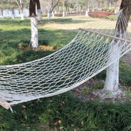 Wholesale Indoor Parachute Hammock - 270X 80 A Single Mesh Cotton Wood Stick Cotton Rope Swing Hammock Indoor Double Hammock Net Camping Furniture Moveis Parachute