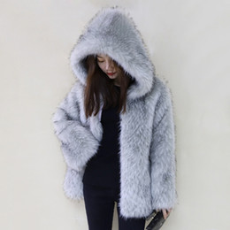 coat hook designs Coupons - New design fashion women's winter warm hooded long sleeve faux fox fur thickening loose coat medium long casacos SML