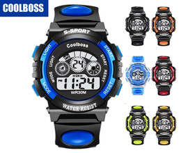 Wholesale Luminous Led - Wholesale COOLBOSS 0119 children kids boys girls sport led digital watch electronic Multifunction Luminous gift party students watches