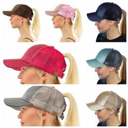 Wholesale free ball caps - women cc hat Glitter Ponytail CC Baseball hat Girl Softball hats back hole Pony Tail Glitter Mesh Baseball CC Cap Hat KKA4428