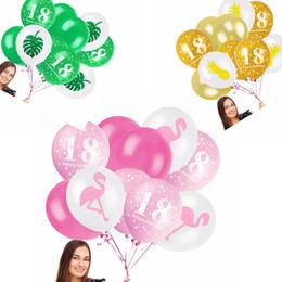 Wholesale latex balloon animals - 12 Inch Flamingo Balloons Mixed Pineapple Leaves Latex Balloons Kids Girls Toys 18 Years Old Birthday Wedding Party Decoration AAA336
