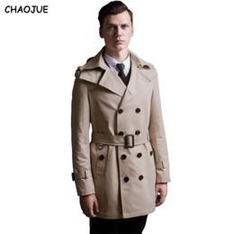 Мужская двубортная куртка продажа онлайн-CHAOJUE двубортный тренч мужской 2018 съемная крышка средней длины верхняя одежда S-6XL хаки пальто тренч мужская встроенная куртка продажи