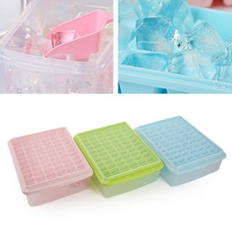 Wholesale Plastic Ice Cubes - 66 Grids Diy Creative Small Ice Cube Molds Square Shape Plastic Ice Tray Fruit Ice Cube Maker Bar Kitchen Tools