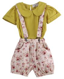 short floral fille t shirt ensemble Promotion 2-7 t bébé enfants filles vêtements d'été ensemble 2pcs jaune manches courtes tops t-shirts + floral shorts occasionnels tenues