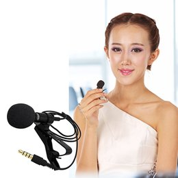 Wholesale Microphone Collar - Besegad Universal Clip-on Collar Tie Mobile Cell Phone Lavalier Microphone Mic for iOS Android Laptop Recording Pen PU Pouch