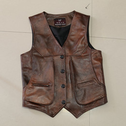 Wholesale Men S Leather Vests - Mens Slim Fit Real Brown Cow Genuine Leather Waistcoat Bikers Vest Size L-8XL