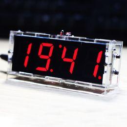 светодиодные наборы для сада Скидка Компактный 4-значный DIY цифровой светодиодные часы Kit Light Control температура дата и время дисплей с цифровой светодиодный комплект де Reloj дома и сада