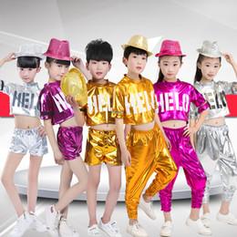 Wholesale Girls Hip Hop Dancewear - New 2018 Girls Boys Fashion Jazz Hip Hop Stage Dance Clothing Sets Tracksuit For Boys Girls Top+Pants Dancewear Costume Clothes 22