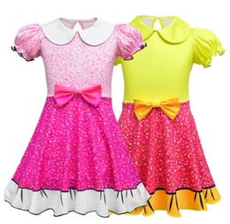 платья для кукол Скидка Baby Girls Dresses Cartoon Surprise Princess Doll Turn-Down Collar с коротким рукавом Cosplay Floral Bow Dresses Детская одежда для новорожденных Рождественский подарок
