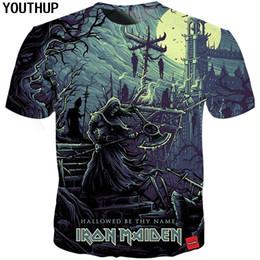 19986722 YOUTHUP 2018 New Iron Maiden T Shirt Men Skull Print Band Men's T shirt  Heavy Metal Ghost Tees Cool Rock 3d Streetwear cheap shirt band rock