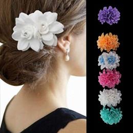 ruban rose Promotion Double rose noeuds de ruban avec clip, clip d'arcs de couleur unie, arc de cheveux de bébé, accessoires de cheveux boutique filles pinces à cheveux 6 couleur 50pcs T1I917