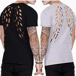 Wholesale destroyed black shorts - Mens Holes Destroyed Wing Design T-shirts Summer Fashion Casual Loose Tees Solid Color Short Sleeves Tops