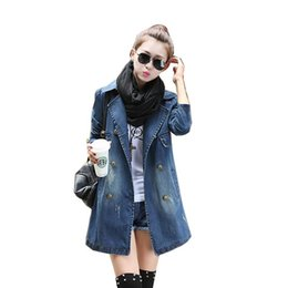 Wholesale Denim Trench - Wholesale- 2017 new Women Denim Trench Coat Fashion Double Breasted Jeans Long Plus Size 5XL Caual Outwear Coats S333
