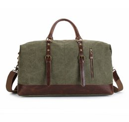 Wholesale Boys Suitcases - Vintage military Large Capacity Travel Bag Men Hand Luggage Travel Duffle Bag Canvas Weekend Multifunctional handBags for male