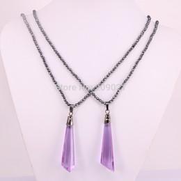 Wholesale Hematite Purple Beads - 5Pcs Nature Purple Crystal Gem Pendants With Black Hematite Beads Necklace Jewelry