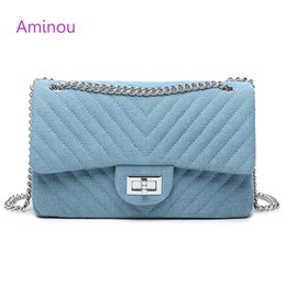 Wholesale Girls Black Shoulder Messenger Bag - Aminou Women Designer Shoulder Bag Chains Flap Messenger Bags Ladies Diamond Lattice Denim Crossbody Bags For Girls Blue Handbag