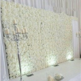 Wholesale Mascot Halloween - 10pcs lot 60X40CM Romantic Artificial Rose Hydrangea Flower Wall for Wedding Party Stage and Backdrop Decoration Many colors