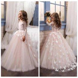 2019 O-Neck Dentelle Manches Longues Fleur Filles Robes Plein Papillon Orné Enfants Pageant Robes Petite Fille Fête D'anniversaire Porter Princesse ? partir de fabricateur