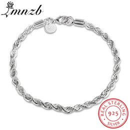 fishing bracelets for men Coupons - 925 pure Silver Bracelets Classic Link Chain Bracelets LMNZB Fine Jewelry Bangle For Men Women Gift
