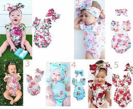 Wholesale girl sleeveless - Ins Baby kids summer girl romper O-neck full flowers print ruffles sleeveless romper + headband kids casual romper set
