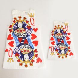 Wholesale Color Pencils Kids - New Spring Summer Women And Girl Dresses Heart Poker Printed Mother And Daughter Dress Queen Jumper Skirt Kids Pencil Skirt