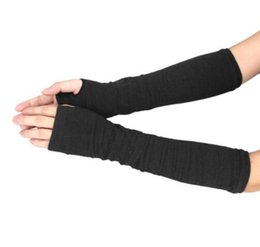 Wholesale real gloves - Hot Women Fashion Knitted Arm Fingerless Mitten Wrist Warm Winter Long Gloves Retail Wholesale