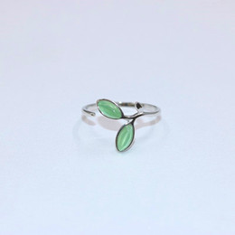 Wholesale Gem Stones Rings - Brand new 925 sterling silver jewelry Europe American style semi-precious gem stone rings tree leaves shape open adjustable free shipping