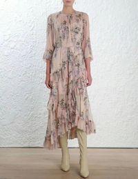 Wholesale designer dress woman s - Brand Designer Silky Women Bohemain Dresses 2018 Summer Fashion Round Neck Long Sleeve Floral Print Maxi Boho Irregular Dresses