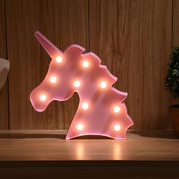 YHINT Unicornio Luzes Da Noite Unicórnio Partido 3D Mesa Led Novidade Animal Letreiro Marquise Carta Luminaria Bebê Crianças Brinquedos de Presente de Fornecedores de letreiro com letra 3d